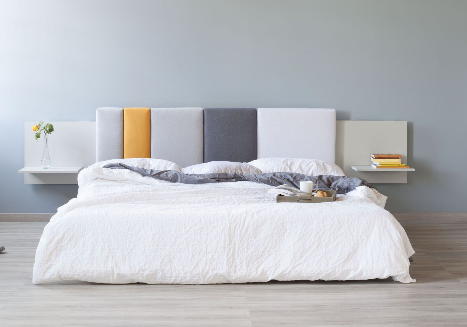 Comoditi is a modular bed headboard made with ecofriendly