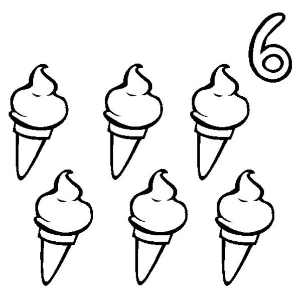 Ice Creams And Number 6 Coloring Page Bulk Color Ice Cream Coloring Pages Coloring Pages Summer Coloring Pages
