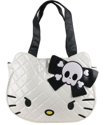 70697eba9cbf Loungefly Hello Kitty Quilted Angry Face Tote (White with Black) Loungefly