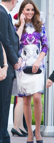 The Duchess of Cambridge looked stunning in a white dress with purple print detail in Singapore.