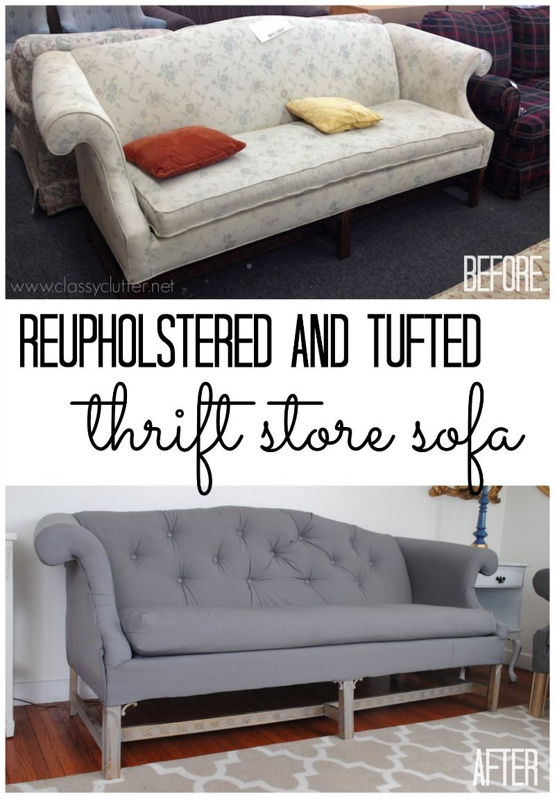 Reupholstered And Tufted Thrift Sofa Jpg