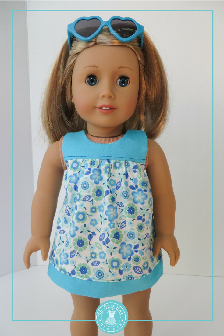 18 Inch Doll Dress Patterns : dress, patterns, Clothes, Sewing, Pattern,, Bloomer, Buddies, Yoked, Dress,, OhSewKat, American, Dolls, Girl,, Patterns