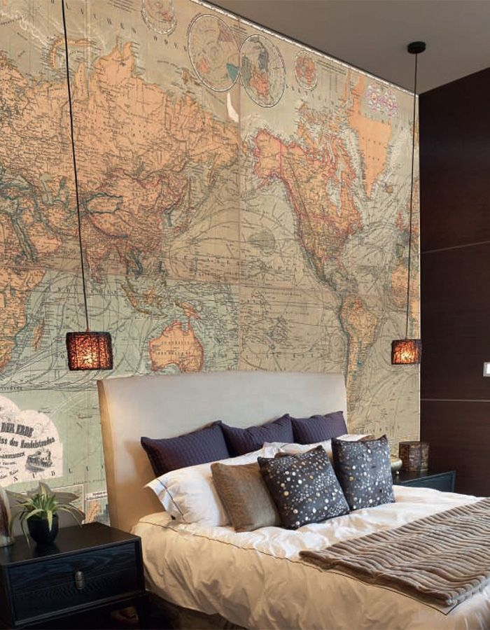 Travel from home with vintage world map wallpaper murals gumiabroncs Gallery