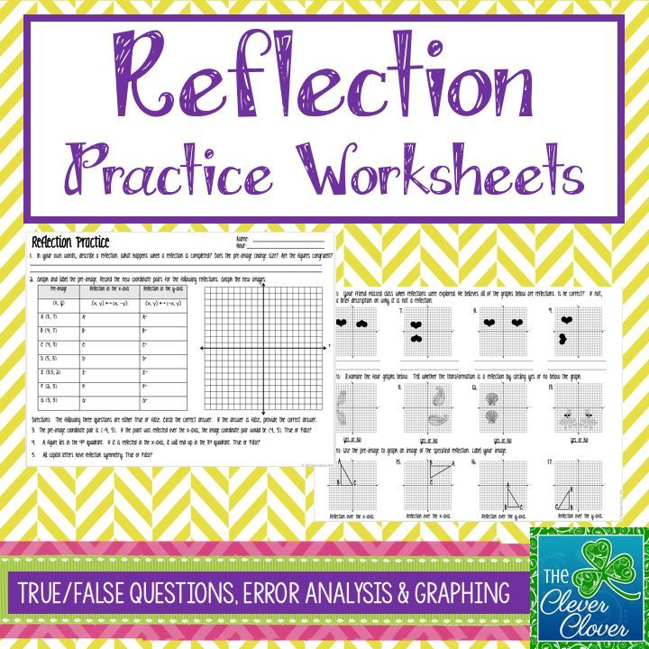 This product provides practice with reflections.  Students will have an opportunity to define reflections in their own words.  They are guided to explain what happens when a reflection is completed and to explain whether or not the images are congruent to each other.  Students will graph a pre-image and two additional images (arrows) on the same graph. A table is provided for the coordinate pairs to be recorded.  Other types of problems include true/false, error analysis, reflection…