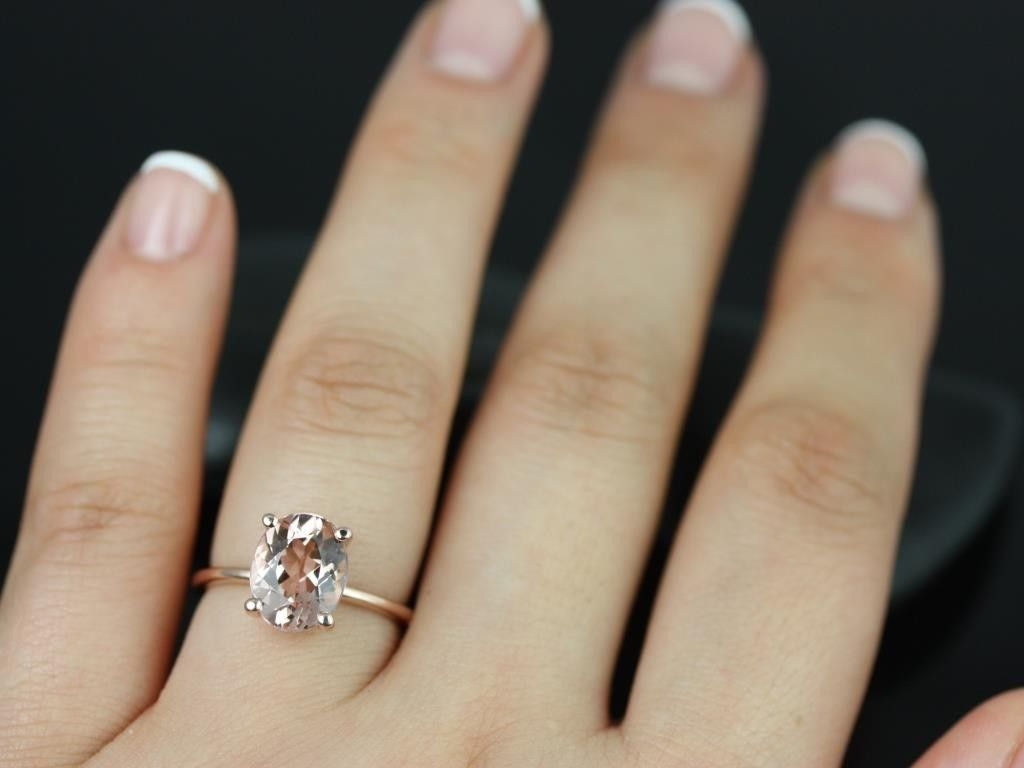 wedding rings and bands Rosados Box Dani Rose Gold Thin Oval Morganite Classic Plain Engagement Ring