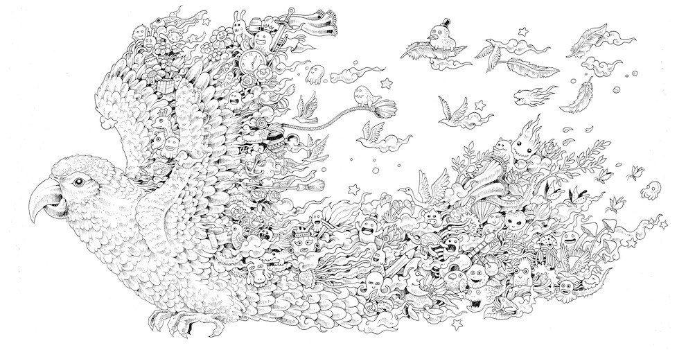 Kerby Rosanes colouringbook, Animorphia. Rhino page, left side ...