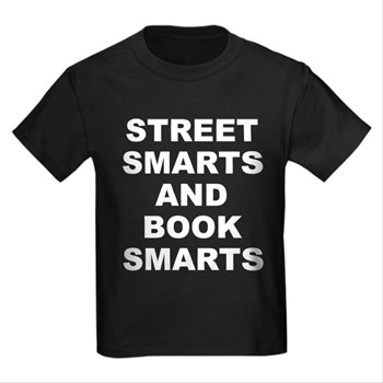 Children's dark color black t-shirt with Street Smarts And Book Smarts theme. In most cases the average person either has street smarts or book smarts. When someone has both they have an advantage in society. Available in black, red, navy blue, royal blue, purple; kids x-small, kids small, kids medium, kids large, kids x-large for only $23.99. Go to the link to purchase the product and to see other options – http://www.cafepress.com/stsmarts