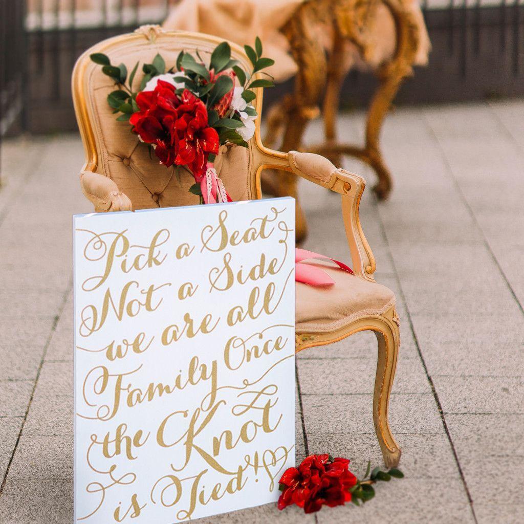 "Oak Arbor Reception: Wedding Sign ""Pick A Seat, Not A Side"""