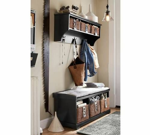 Pottery Barn Samantha Bench Shelf Cushion Baskets Entryway Inspiration Home Office Design Home