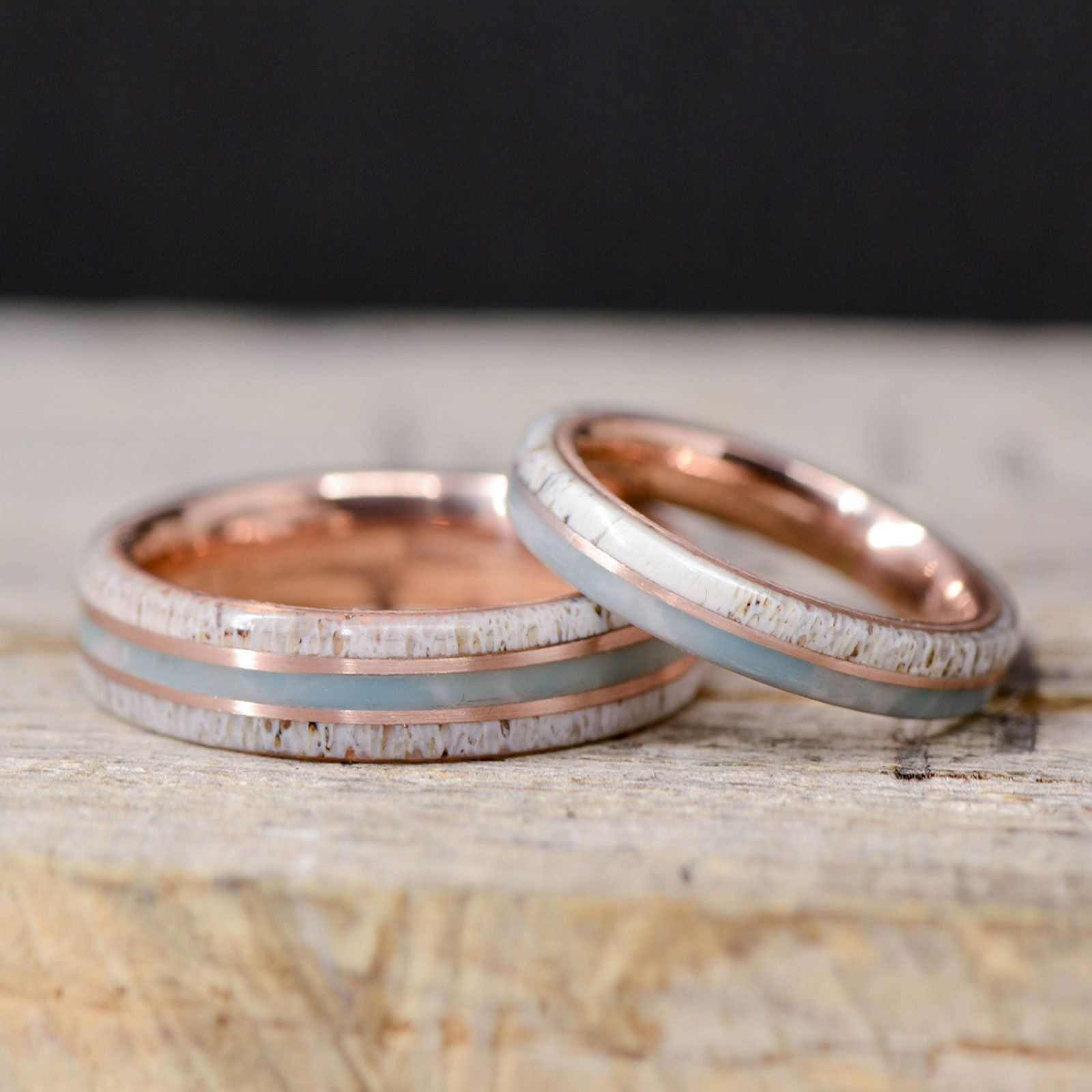 Antler Larimar Rose Gold Pinstripes In 2020 Wedding Ring Sets Sapphire Engagement Ring Blue 14k Rose Gold Engagement Rings