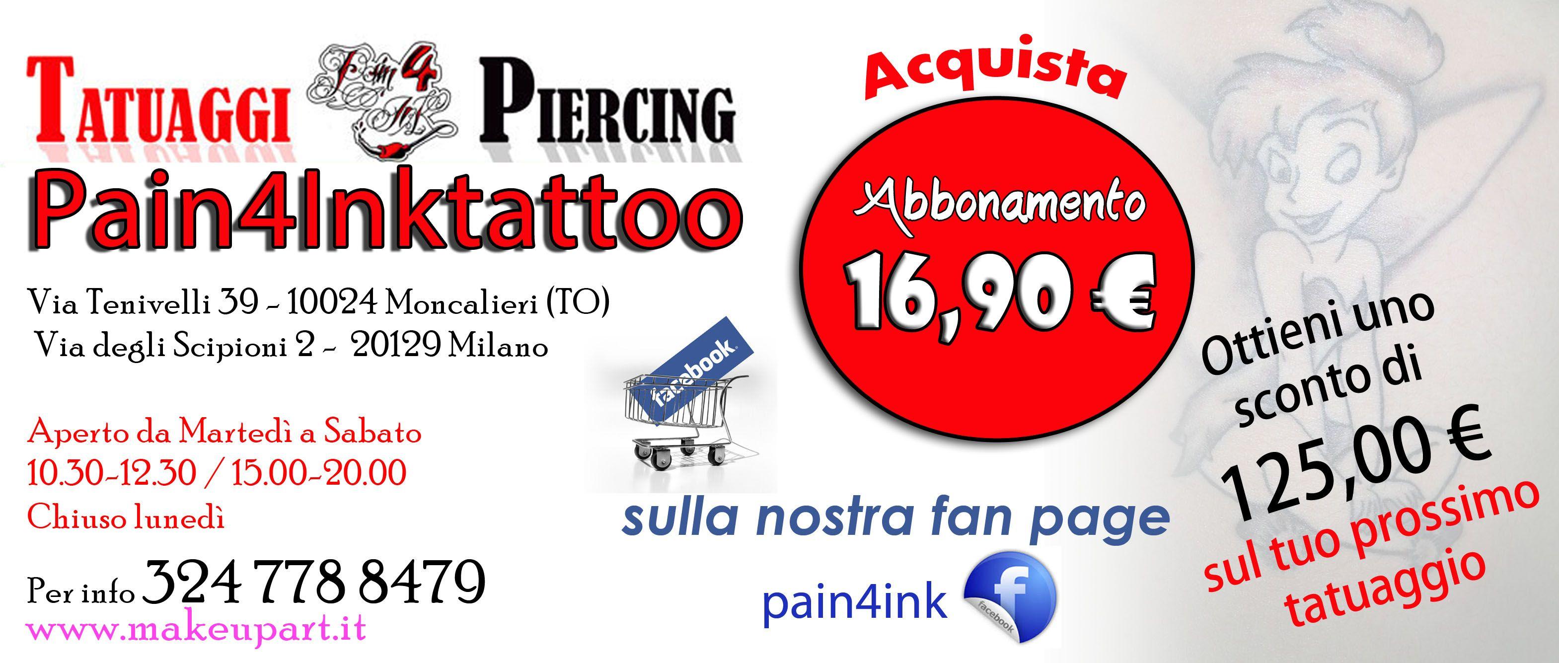 Salve, Cristina SappinoIl tuo account |  Preferiti Borsa degli acquisti (2) Ottieni uno sconto di 125,00 euro sul tuo prossimo tatuaggio acquistando questo abbonamento di 16,90 €