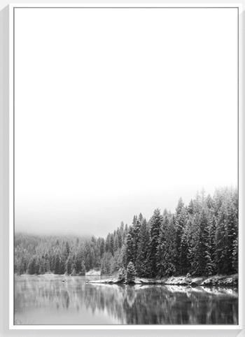Nordic black and white landscape forest sea scenery posters and prints wall art canvas painting wall pictures poster unframed