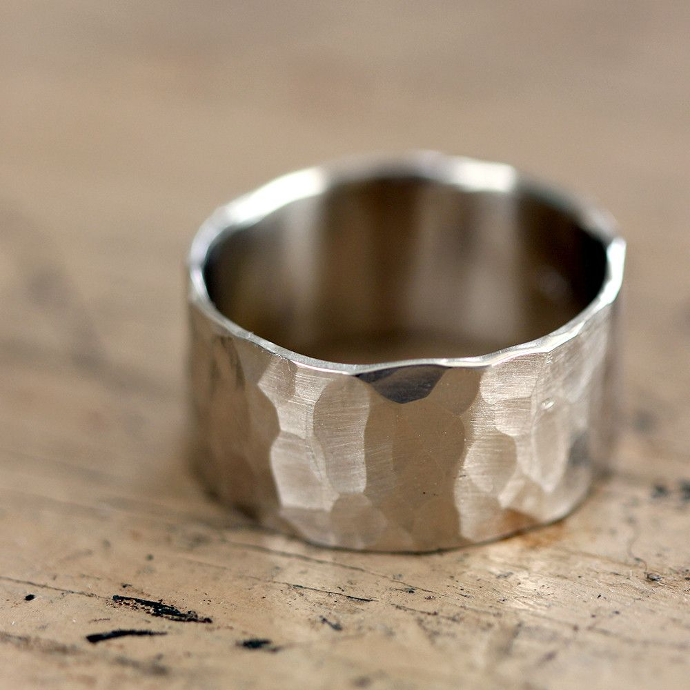 14k Gold Hammered Wide Band Wedding Ring Ring Gold and Silver ring