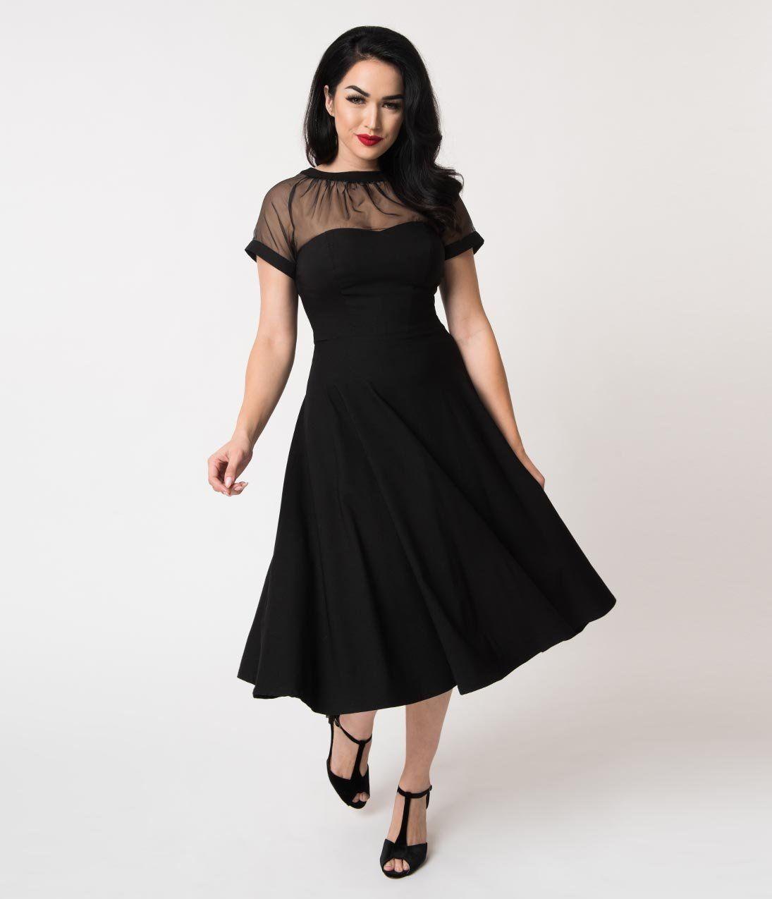 1950s Dresses 50s Dresses 1950s Style Dresses Unique Vintage 1950s Black Stretch Sheer Bodice Shirelle Swing Dres Swing Dress Unique Dresses Vintage Dresses [ 1275 x 1095 Pixel ]