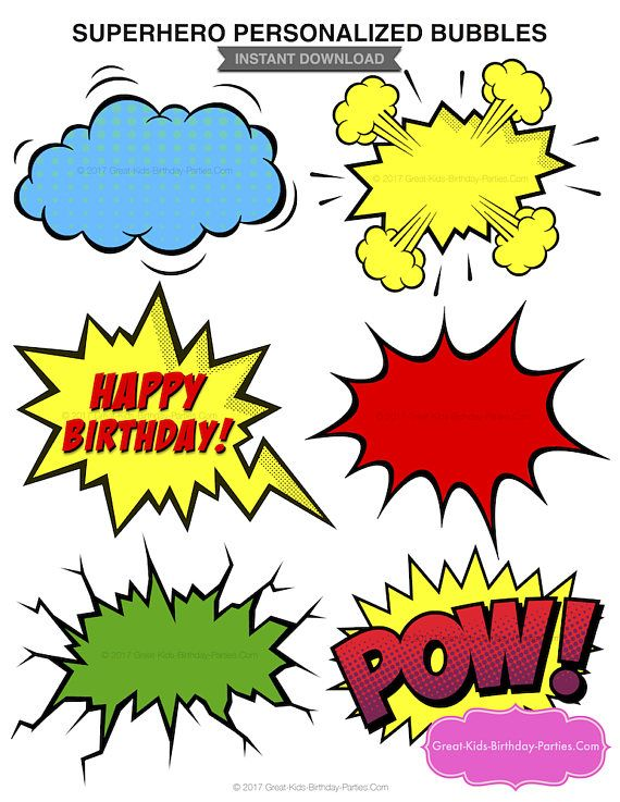 Superhero Blank Bubbles - Instant Download Hi! Welcome to ...