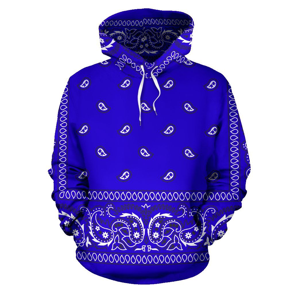 Bandana Fever Royal Blue Bandana Print Pullover Hoodie In 2020