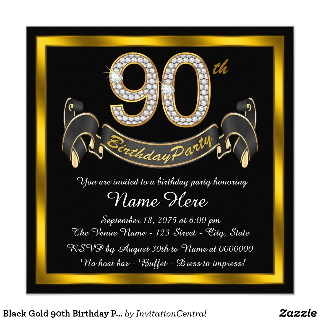 Black Gold 90th Birthday Party Card Elegant Invitation With Diamond Numbers And Banner On A Background