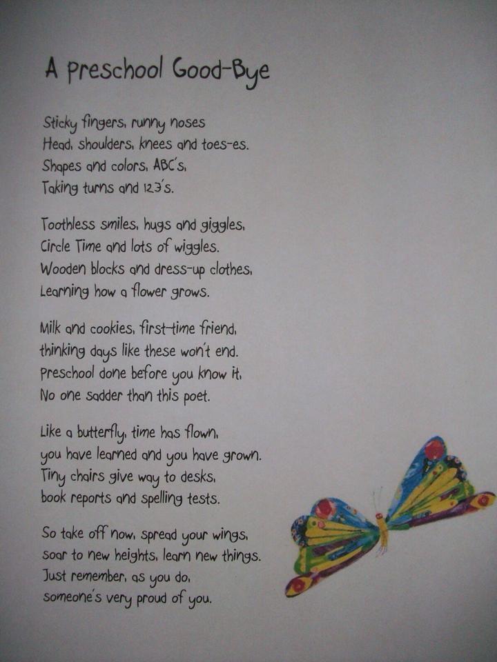 Preschool Goodbye Poem Saying Goodbye Pinterest