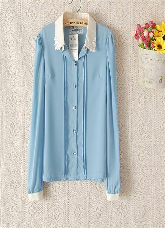 Lace collar Pearl Button shirt