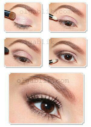 simple natural makeup with pink and brown eyeshadow