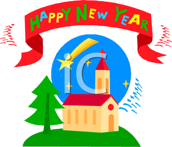 iclipart illustration of a church and shooting star for new year