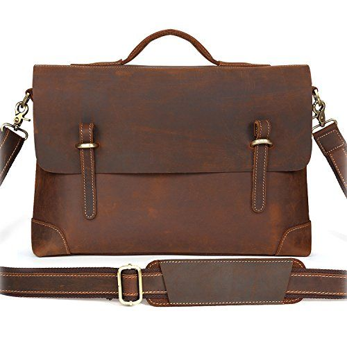 Portfolio Male Bag Full Grain Natural Leather Black Laptop Briefcases Simple Tote Bags Fit 15 Inch Black