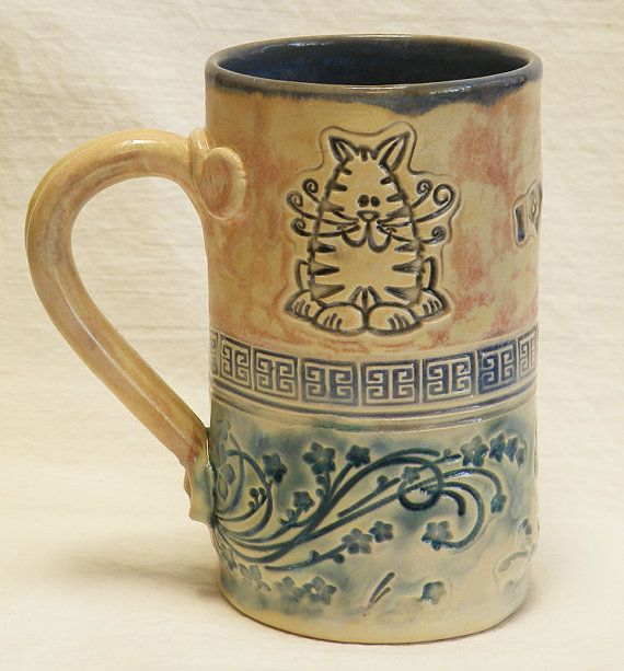 Handmade ceramic 16oz fat cat coffee mug stoneware by desertNOVA, $22.00