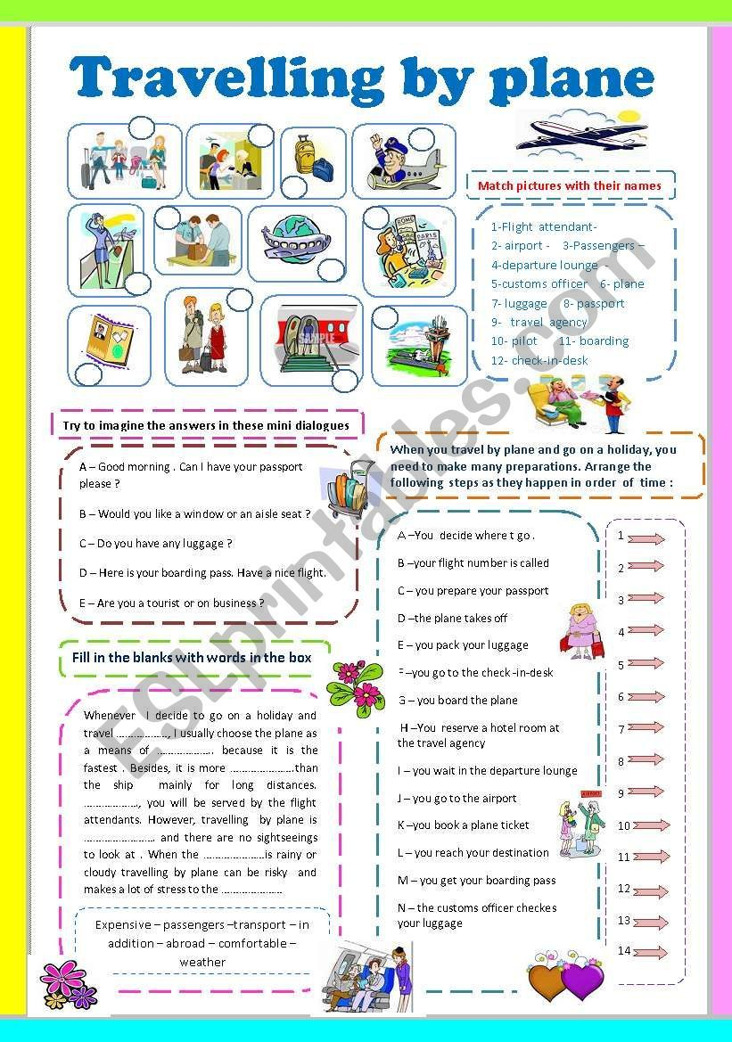 Labeling Pictures Filling In The Blanks Ordering Preparation Steps Before Travelling And Comp By Plane English Teaching Materials English Activities For Kids [ 1169 x 821 Pixel ]