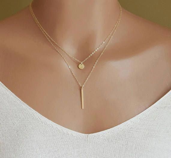 Photo of Simple Gold Necklace Dainty Bar Necklace Vertical Bar #PerfectPromDress