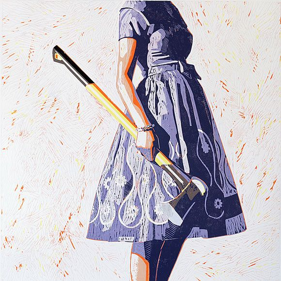 Kelly Reemtsen's paintings explore the paradoxical state of being female in in post-feminist contemporary society.  Her iconic image is that of a woman clothed a vintage party dress. In some paintings the woman carries a tool usually associated with masculinity.