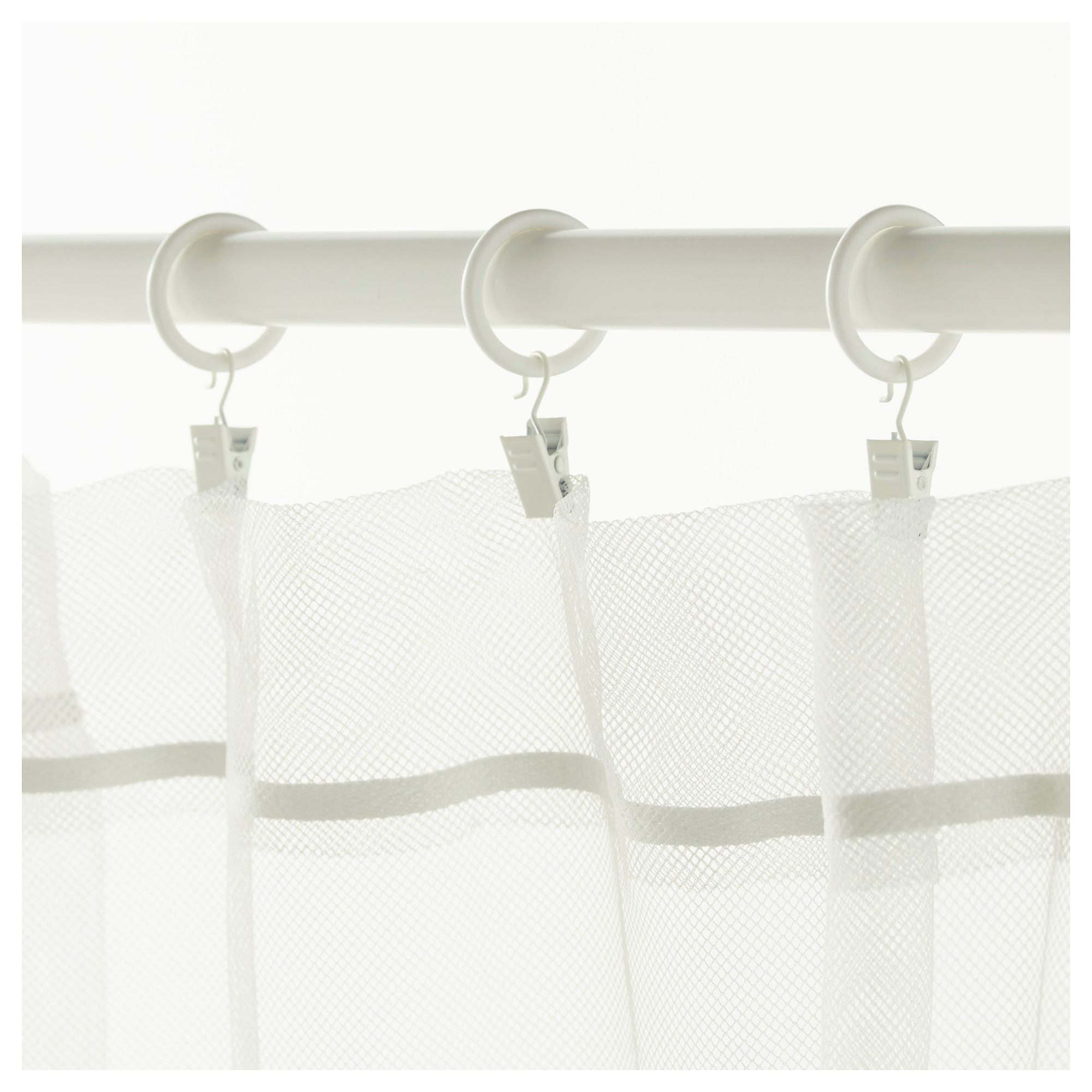 Syrlig Curtain Ring With Clip And Hook White 25 Mm Curtains With Rings Curtain Rings With Clips Curtains
