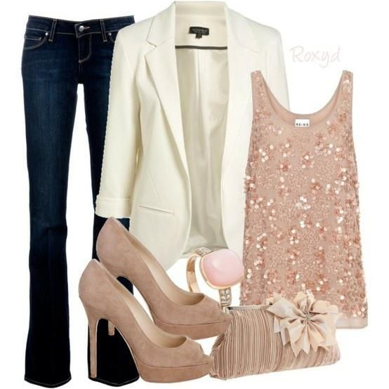 Polyvore Combinations For A Night Out white jacket nude heels dark jeans beaded top