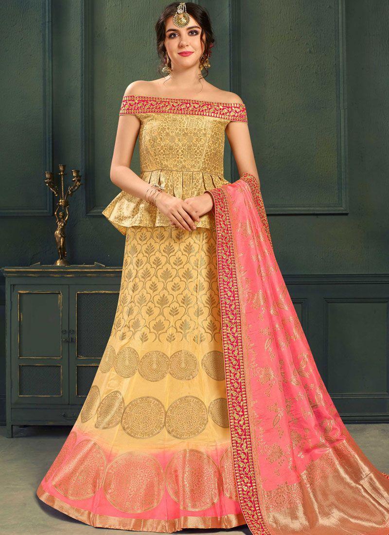 Yellow color silk indian wedding lehenga choli in