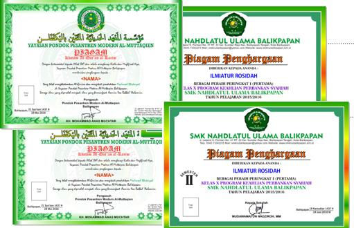 Piagam Khatam Al Qur An Dan Penghargaan Ranking Kelas Pondok Pesantren Modern Al Muttaqien Quran Perasaan Berkelas