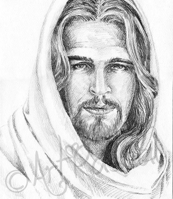 Gift For Grandma Jesus Christ Portrait Printable Black And White Graphite Christ Portrait Christ P Jesus Christ Portrait Jesus Art Drawing Jesus Christ Drawing