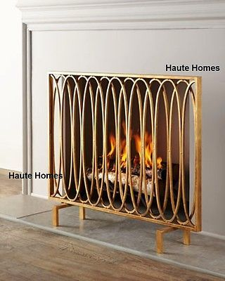 horchow stunning modern oval loops golden iron fireplace screen rh pinterest com