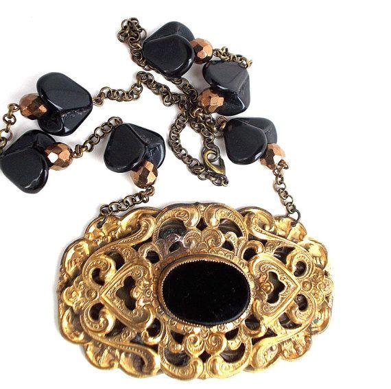 Victorian Revival Necklace Vintage Repurposed Black by LilisGems, $48.00