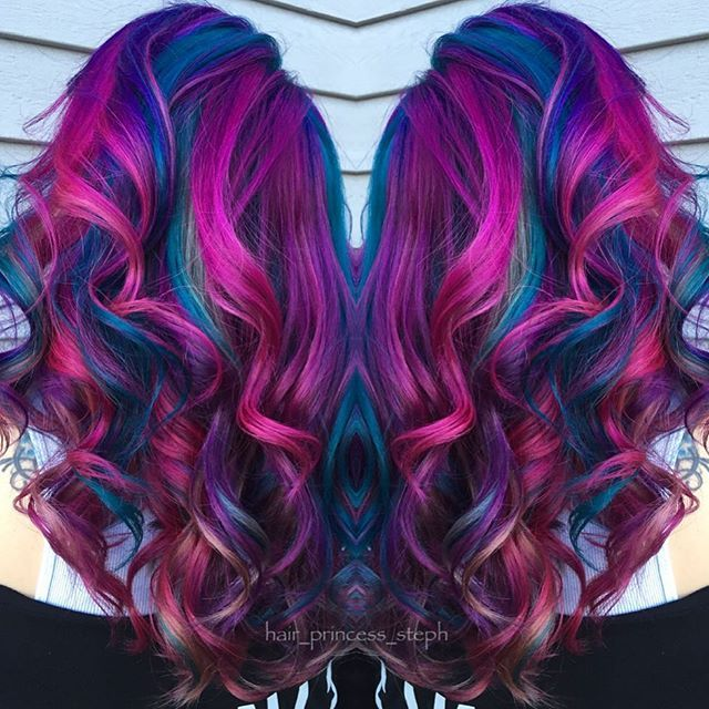 Beautiful Fuchsia Pink And Blue Mermaid Hair Hair Styles Mermaid Hair Color Blue Mermaid Hair