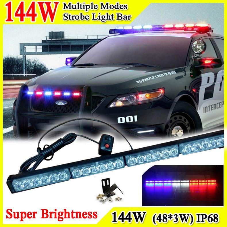 Police Led Lights >> 46inch 144w Car Roof Led Strobe Lights Bar Police Emergency Warning