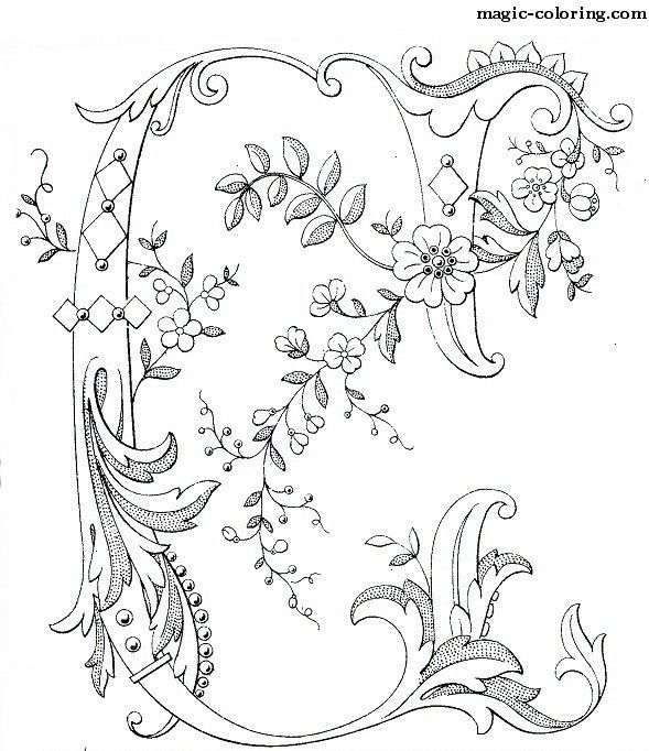 Decorated Flower Monogram Coloring Page for letter