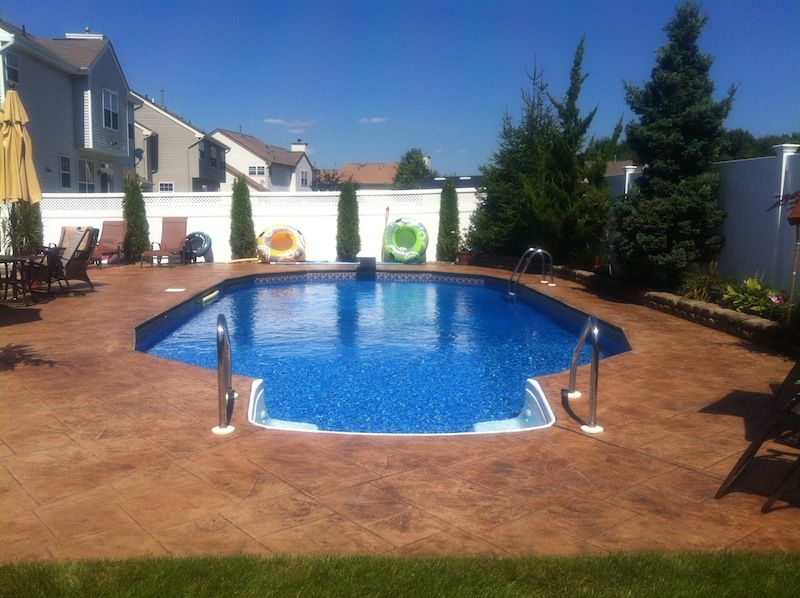 stamped concrete color for pool surround | backyard projects