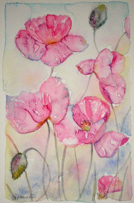 Art Watercolor Painting Of Pink Poppies Original Art Artist Amanda