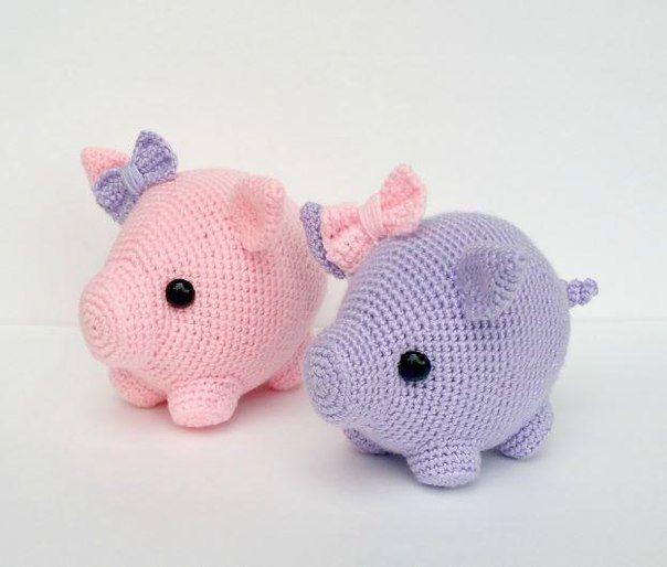 вязание крючком год свиньи брелок