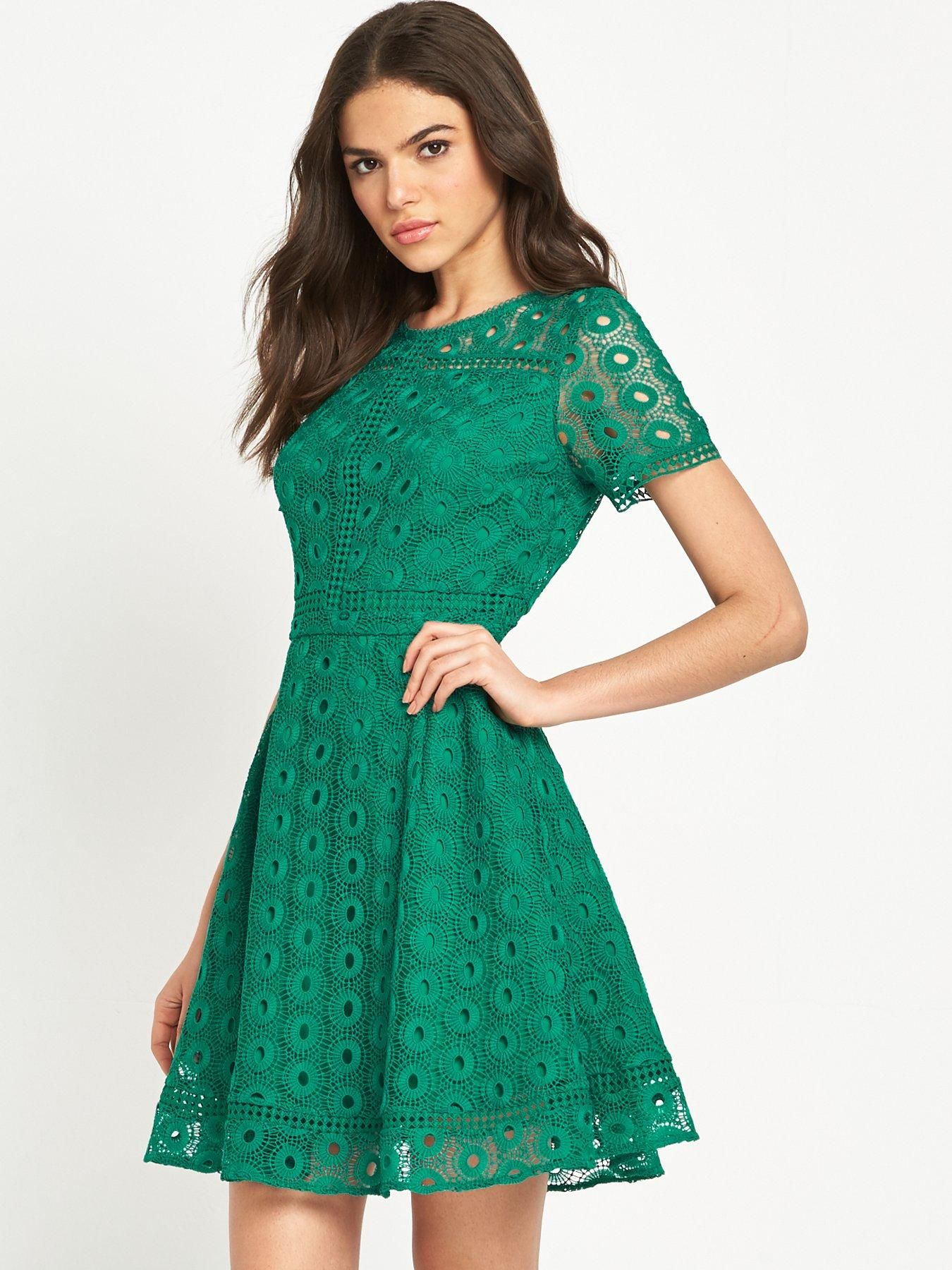 Warehouse Mixed Lace Prom Dress - Green Cut to a universally ...