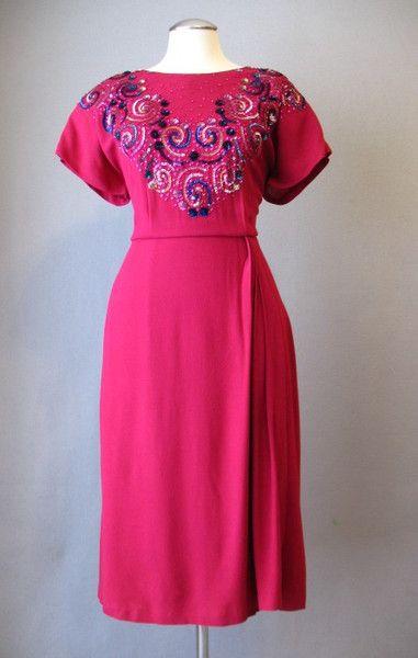 Vintage 40s Dress Magenta
