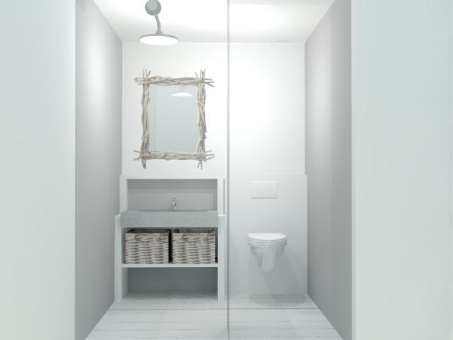 Toilet met douche en wasbak, WC mit Dusche und Waschbecken ...