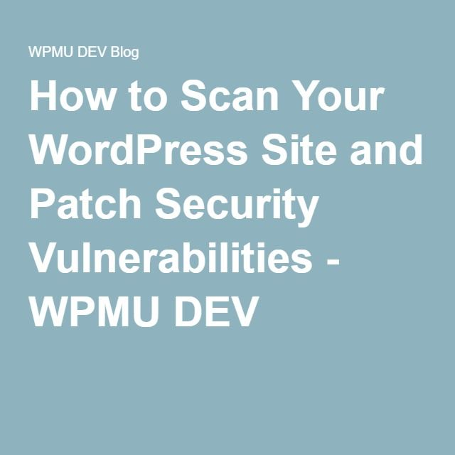How to Scan Your WordPress Site and Patch Security Vulnerabilities - WPMU DEV