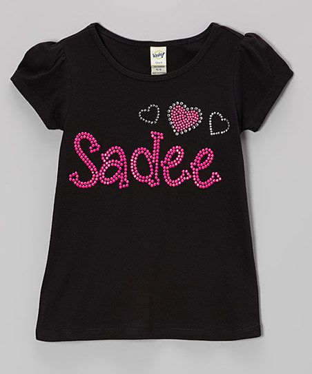 Rhinestone Fabuless Black Hearts Personalized Tee - Infant, Toddler & Girls | zulily
