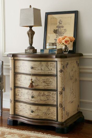 Serpentine Chest - 4 Drawer Chest, Hand Painted Chest, Chinese Toile | Soft Surroundings
