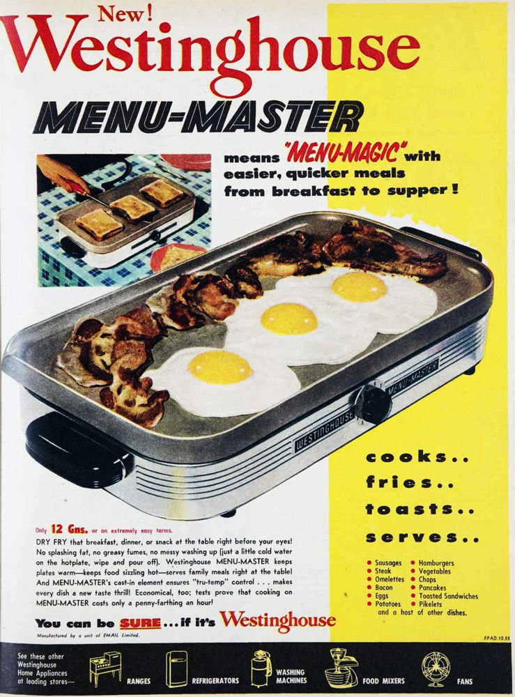 New Westinghouse Menu Master 1955 Cooking Foil Quick Meals Kitchen Must Haves
